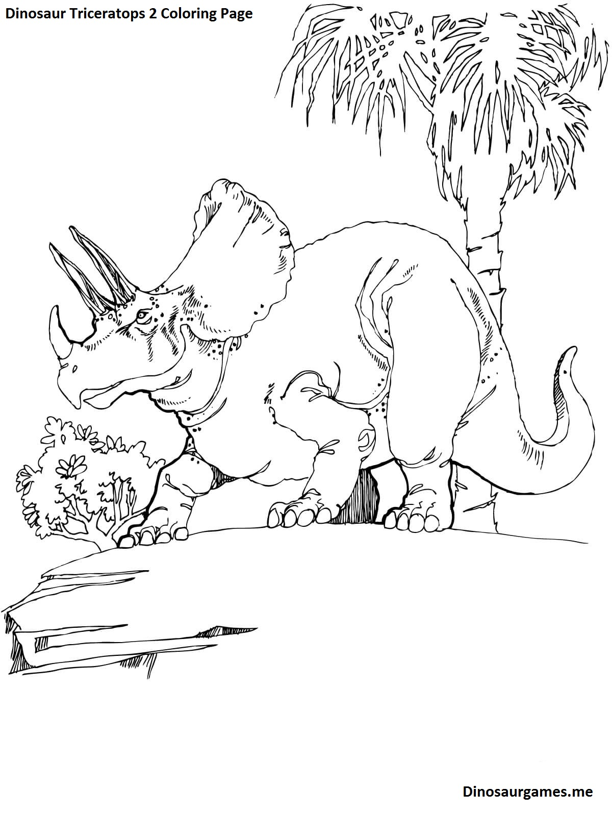 Dinosaur Triceratops 2 Coloring Page