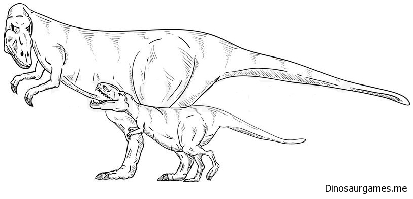 Vector Dinosaurs Family Coloring Page