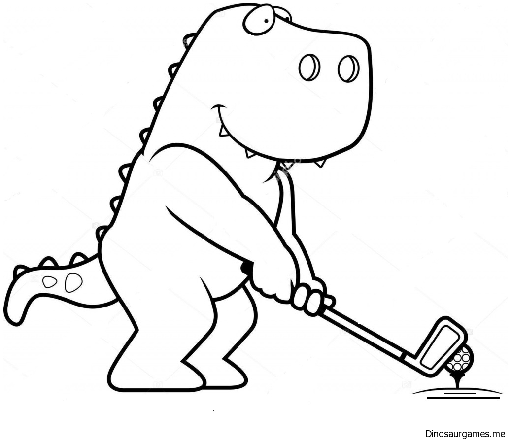 Dinosaur Golf Coloring Page