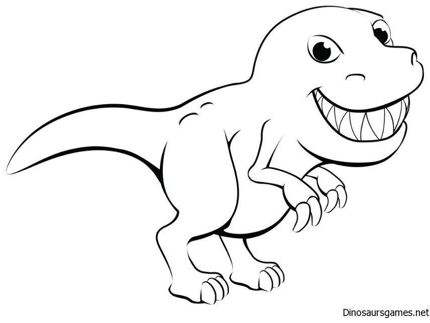 Cute Dino Coloring Page