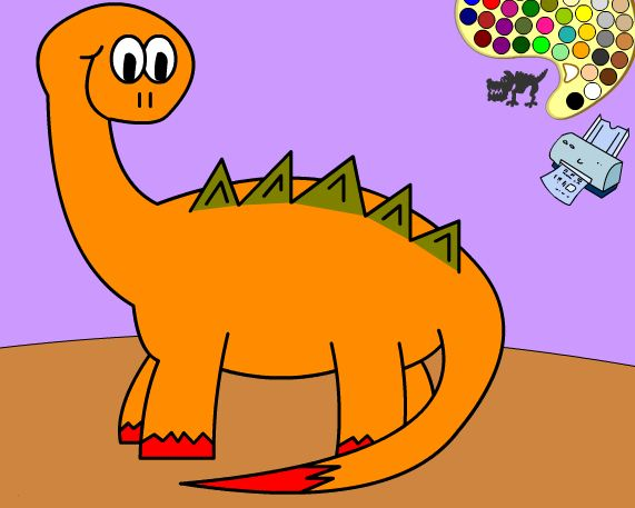 Coloring With A Dinosaur Game