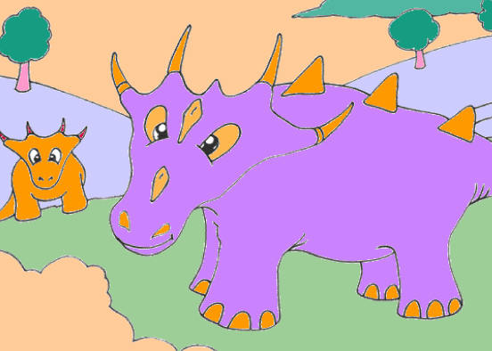 Mother And Baby Dinosaur Coloring Game