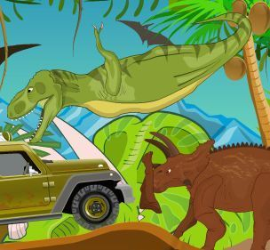 Jeeps Drive on Jurassic Park Game