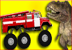 Monster Fire Truck Crazy Dinosaur Game