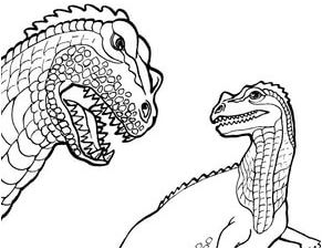 Dinosaur Ceratosaurus and Pteranodon Coloring Page Game