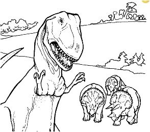 Dinosaur Tyrannosaurus and Triceratops Coloring Page Game