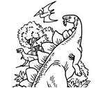 Dinosaur Bipedal Stegosaurus and Pteranodon Coloring Page Game