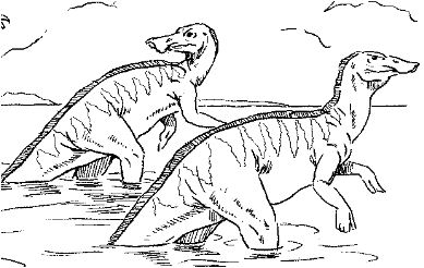 Dinosaur Tyrannosaurus Chasing Trachodons Coloring Page Game