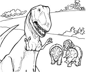 Dinosaur Triceratops and Tyrannosaurus Coloring Page Game