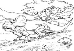 Dinosaur Oviraptor Approaching Protoceratops Nest with Eggs Coloring Page Game