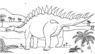 Dinosaur Young Stegosaurus Coloring Page Game