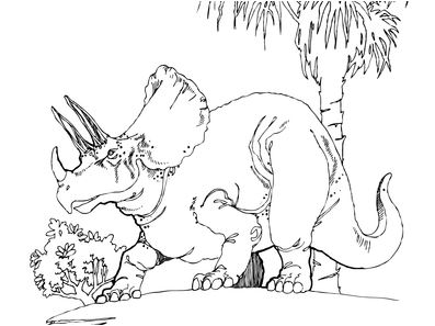 Dinosaur Triceratops 2 Coloring Page Game