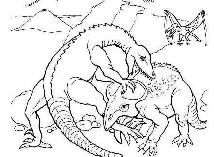 Dinosaur Protoceratops Fights Coloring Page Coloring Page