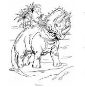 Dinosaur Triceratops and Palm Trees Coloring Page Game