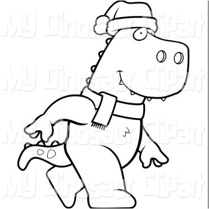 Christmas T Rex Coloring Page Game