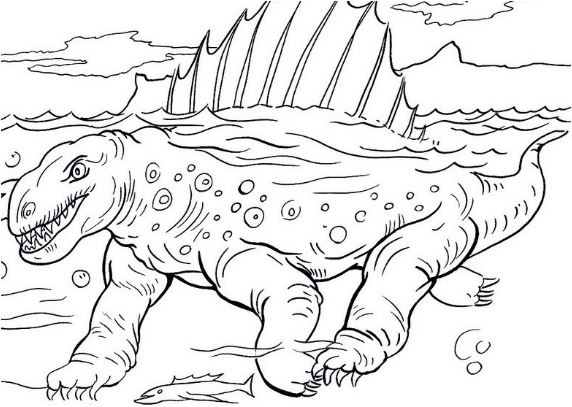 Dimetrodon In Under Water Coloring Page Game