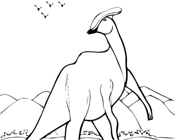 Parasaurolophus Dinosaurs Coloring Page Game