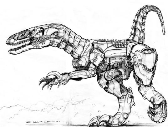 Drawn Dinosaur Robot Coloring Page Game