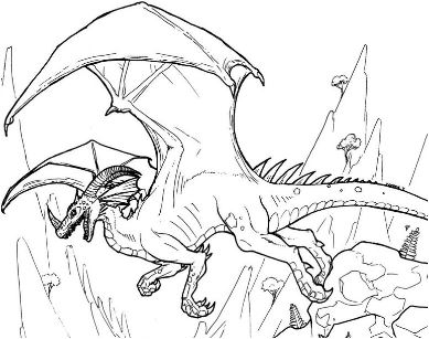 Dinosaurid Dragon Line Art Coloring Page Game