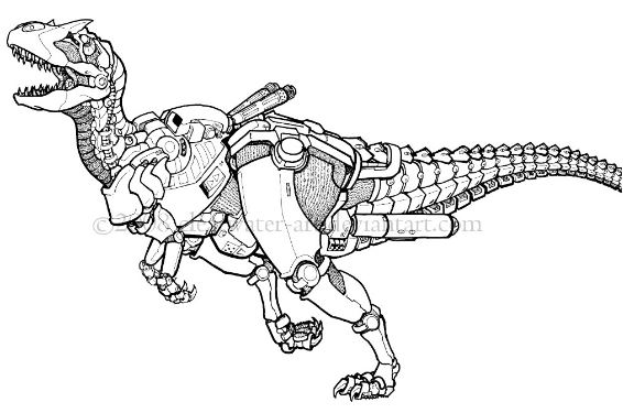 Dino Robot Tyrannosaurus Soldier Coloring Page Game