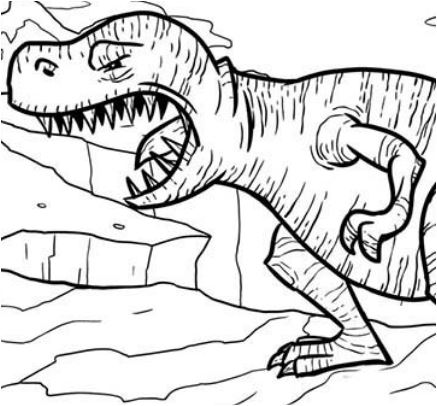 T Rex Opening His Mouth Wide Coloring Page Game
