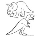 Triceratops and T Rex Coloring Page Game