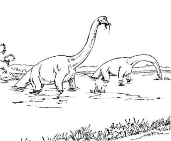 Brachiosauruses In The Lake Coloring Page Game