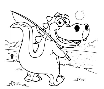 Cute Tyrannosaurus Goes Fishing Coloring Page Game