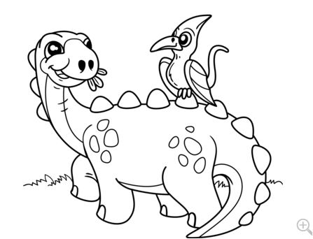 Cute Dinosaur with Pteranodon Coloring Page Game
