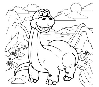 Cute Diplodocus Coloring Page Game