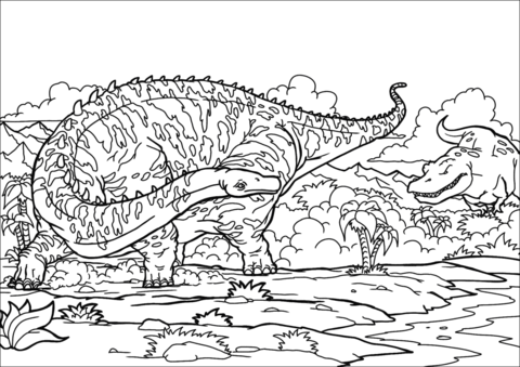Diplodocus and T Rex Coloring Page Game