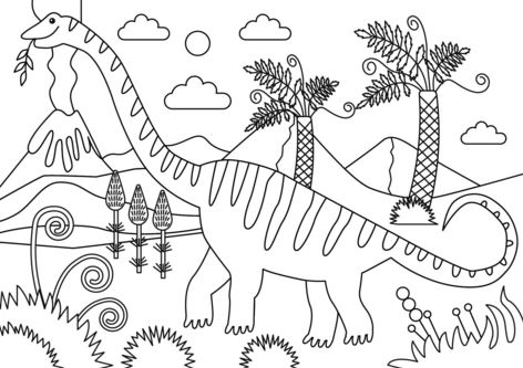 Mamenchisaurus Dinosaur Coloring Page Game
