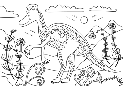 Corythosaurus Dinosaur Coloring Page Game