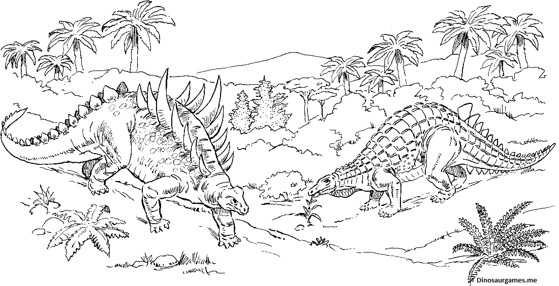 Dinosaur Polacanthus and Scelidosaurus Coloring Page