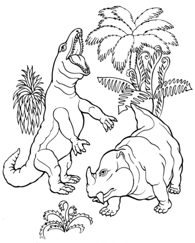 Dinosaur T.Rex and Dicynodont Coloring Page