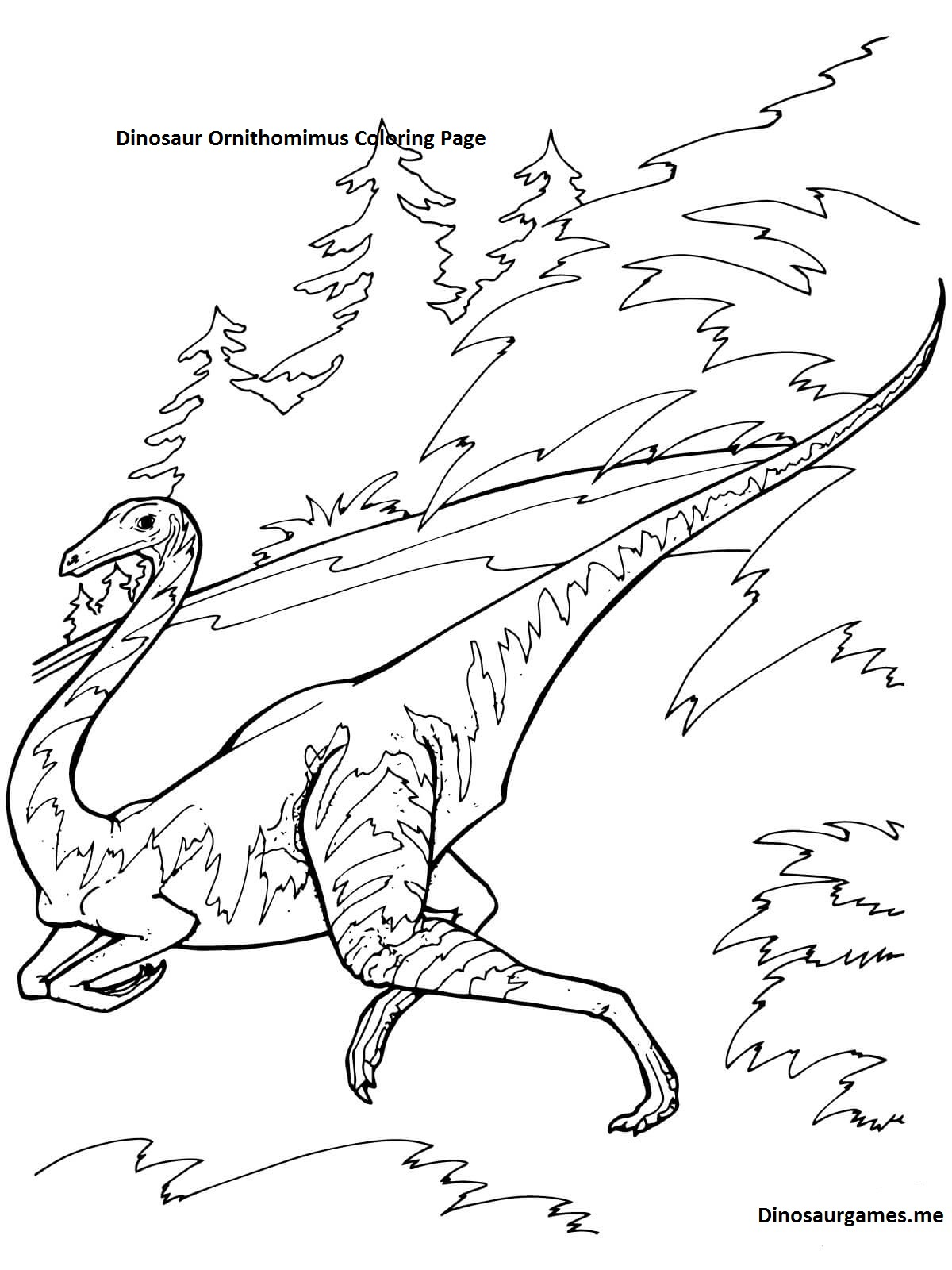 Dinosaur Ornithomimus Coloring Page