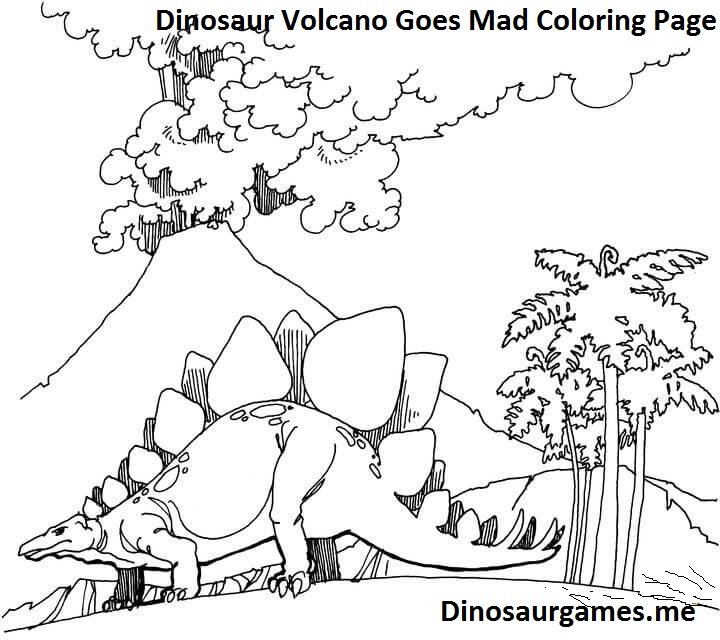 Dinosaur Volcano Goes Mad Coloring Page