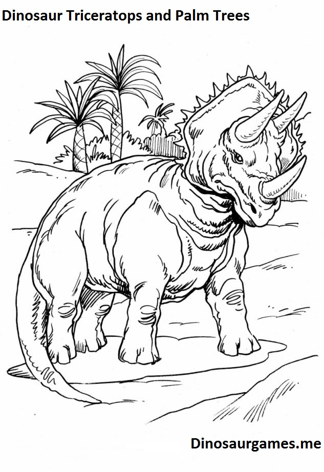 Dinosaur Triceratops and Palm Trees Coloring Page