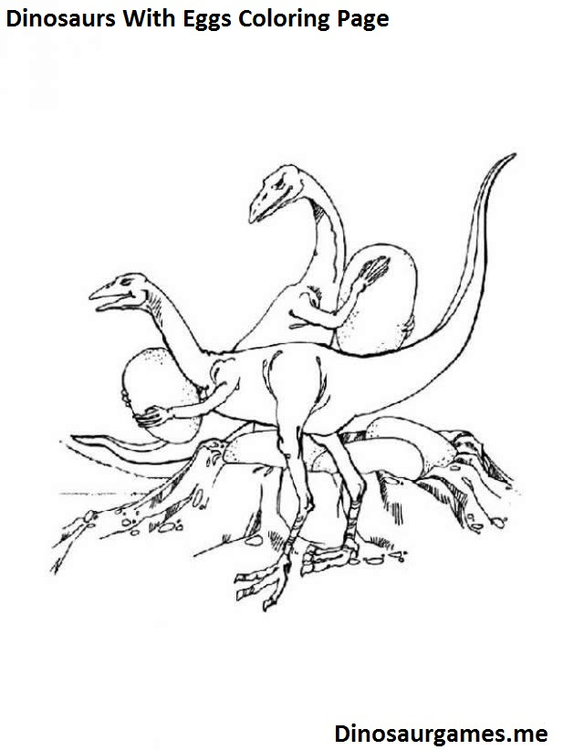 Dinosaurs With Eggs Coloring Page