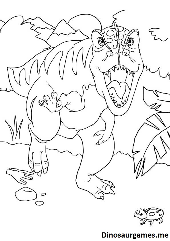 The Dino Says Hello Coloring Page