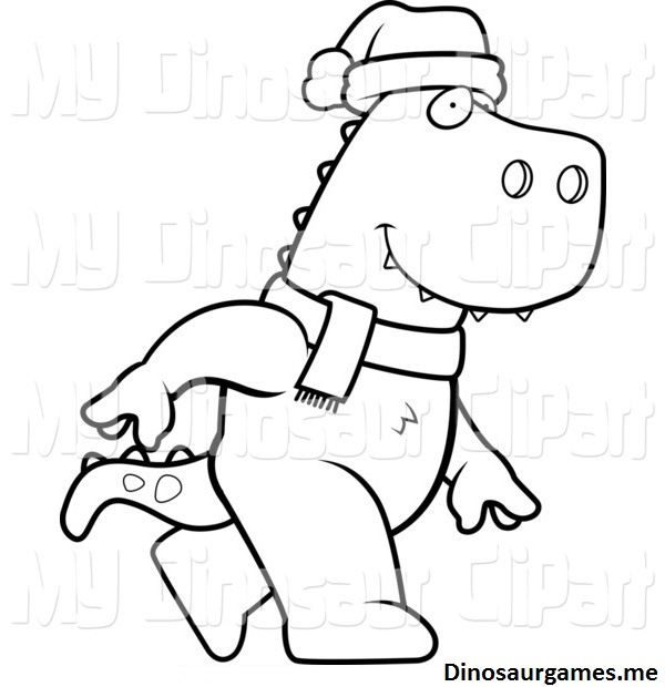Christmas T Rex Coloring Page