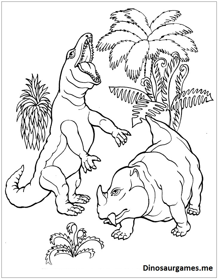 T Rex Vs Dicynodont Dinosaur Coloring Page