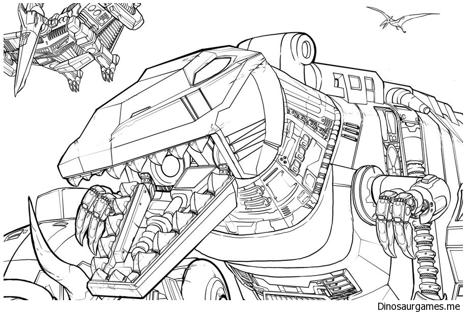 Dinobots  Up Close Coloring Page