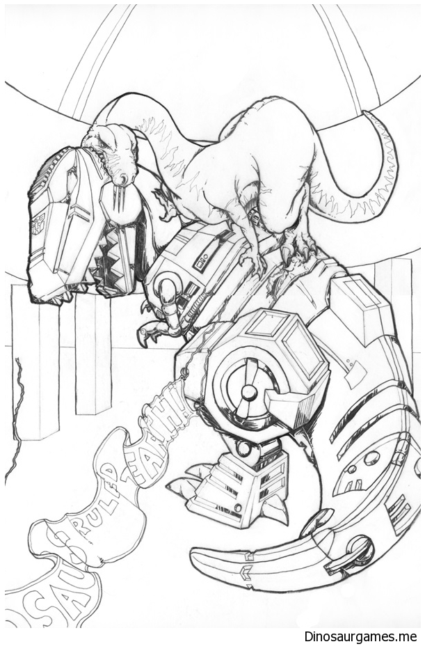 Grimlock vs Dinobot Coloring Page