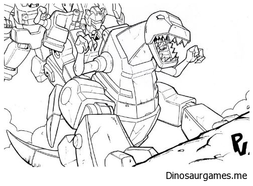 Grimlock Charges Coloring Page