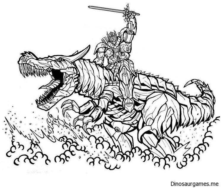 Dinobot And Robot Coloring Page Dinosaur Coloring Pages