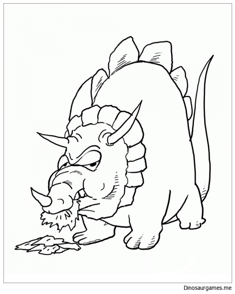 Triceratops Eating Coloring Page