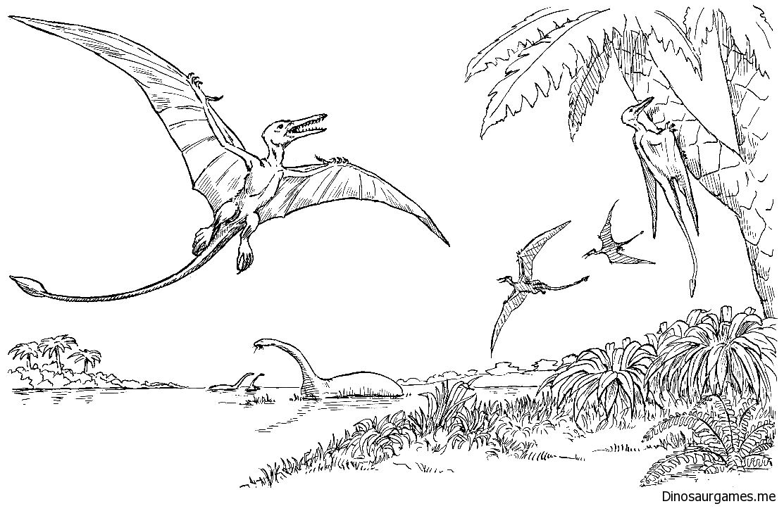 Rhamphorhynchus From Dinosaurs Coloring Page