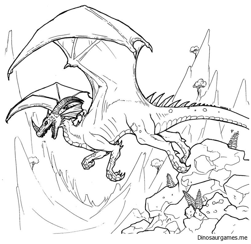 Dinosaurid Dragon Line Art Coloring Page