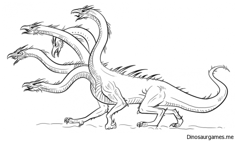 Dinosaurs Have Many Heads Coloring Page